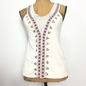 Anthropologie Ivory Casual Studded Tank Top XS